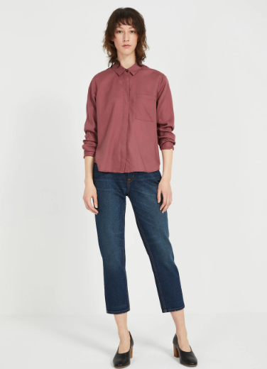The TENCEL® Everyday Blouse in Washed red