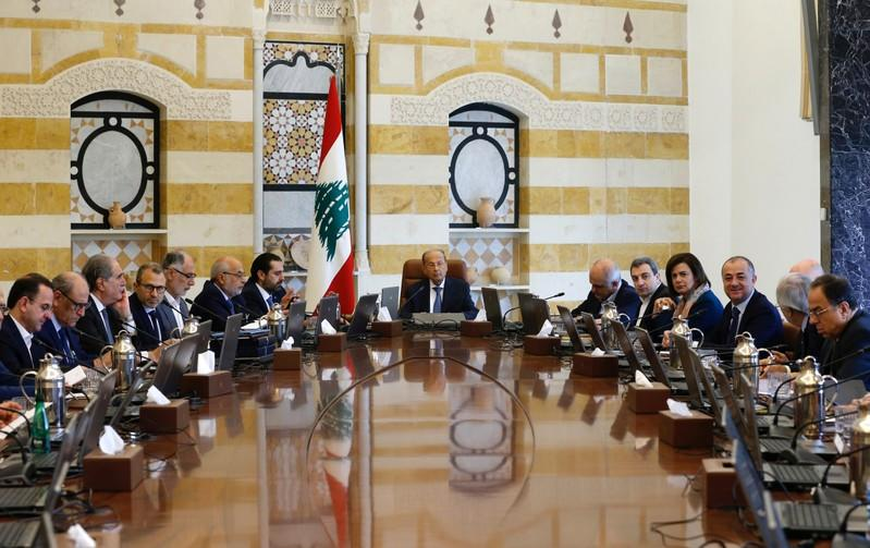 Lebanon's President Michel Aoun presides a cabinet session at the Baabda palace