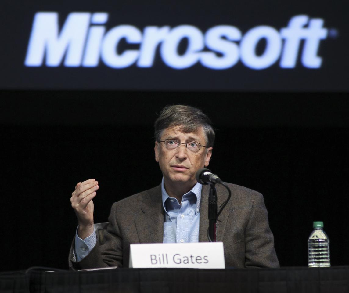 Microsoft Chairman Bill Gates speaks during Microsoft's annual shareholder meeting at Meydenbauer Center in Bellevue, Washington in this November 15, 2011 file photo. Three of the top 20 investors in Microsoft Corp are lobbying the board to press for Bill Gates to step down as chairman of the software company he co-founded 38 years ago, according to people familiar with matter. REUTERS/Anthony Bolante/Files (UNITED STATES - Tags: BUSINESS SCIENCE TECHNOLOGY)