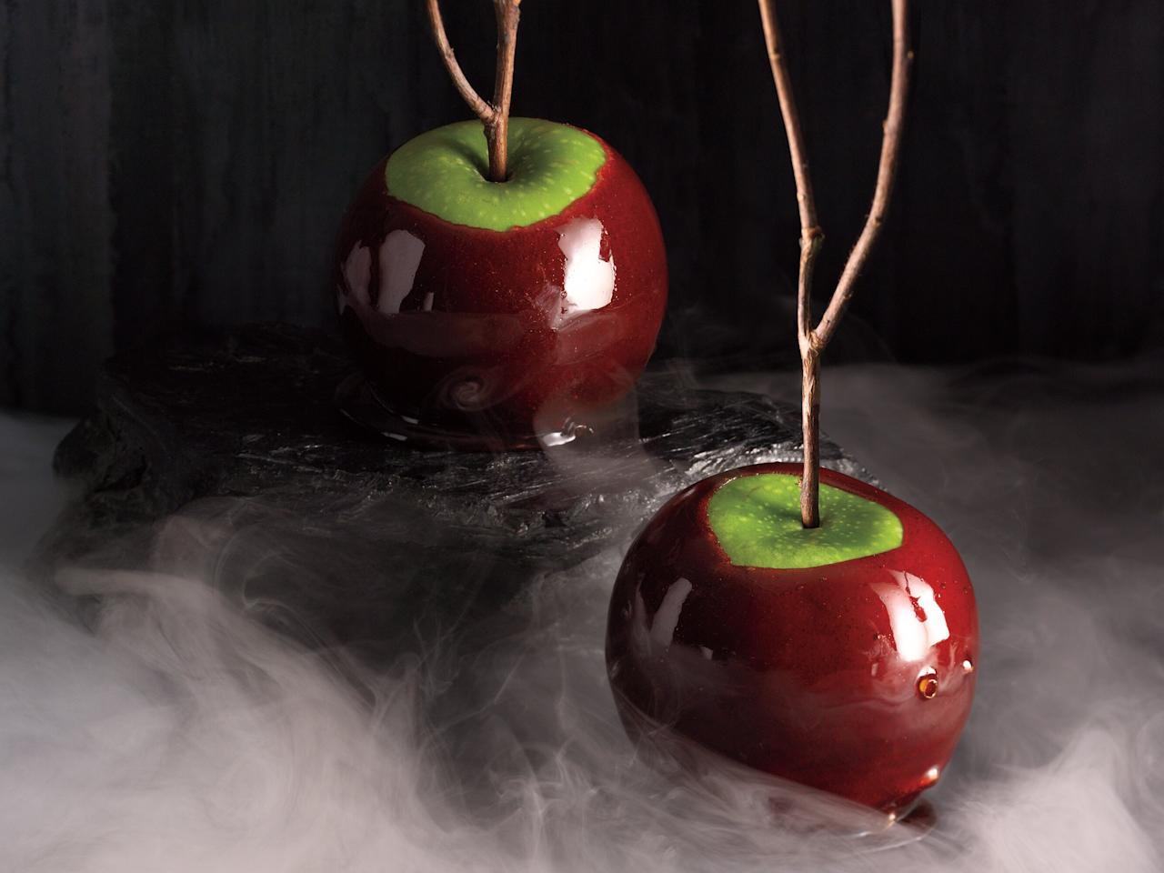"<p>Wash apples well to remove any waxy coating, and dry thoroughly before dipping them. Work quickly, but if the syrup begins to set, you can reheat it over low heat to liquefy.</p> <p><a href=""https://www.myrecipes.com/recipe/cinnamon-cider-candied-apples"">Cinnamon-Cider Candied Apples Recipe</a></p>"