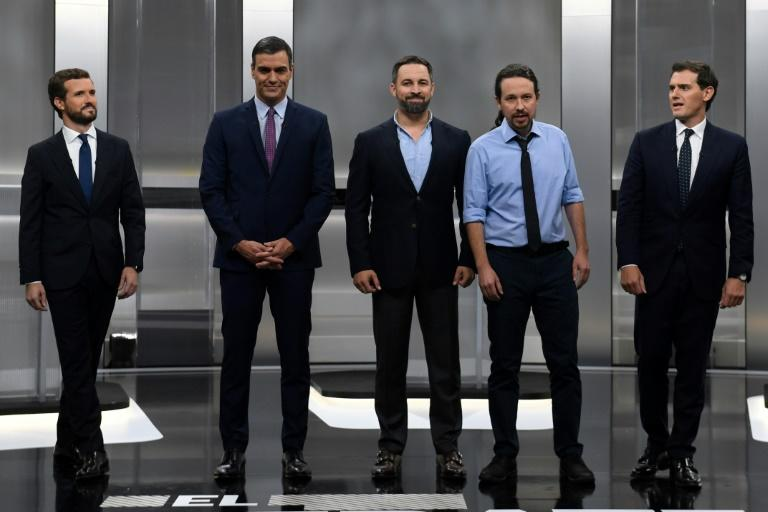 Running in Sunday's vote are: Pablo Casado of the rightwing PP, Socialist premier Pedro Sanchez, Santiago Abascal of the far-right Vox, Pablo Iglesias of the radical leftwing Podemos and Albert Rivera of the centre-right Ciudadanos (AFP Photo/PIERRE-PHILIPPE MARCOU)