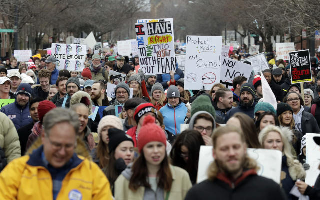 <p>Several hundred students, parents, concerned citizens and anti-gun advocates marched in downtown Jackson, Miss. (AP Photo/Rogelio V. Solis) </p>
