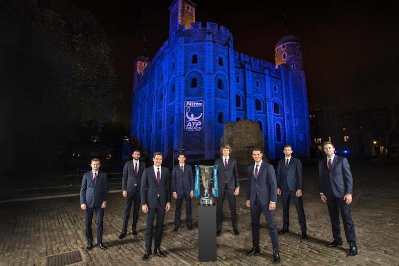 Jack Sock (fair right) joins his ATP World Tour Finals rivals for a photoshoot ahead of the tournament (Getty Images)