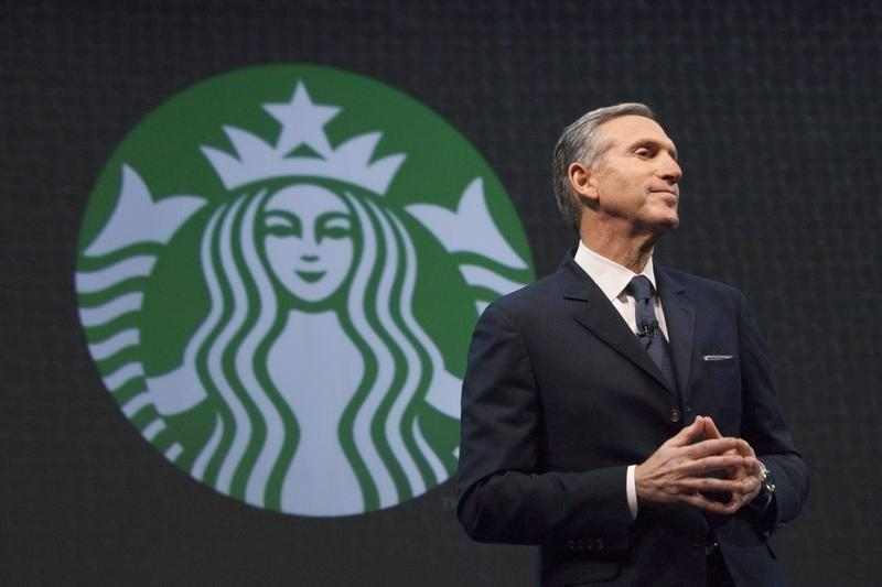 Starbucks CEO Howard Schultz speaks during the company's annual shareholder's meeting in Seattle, Washington
