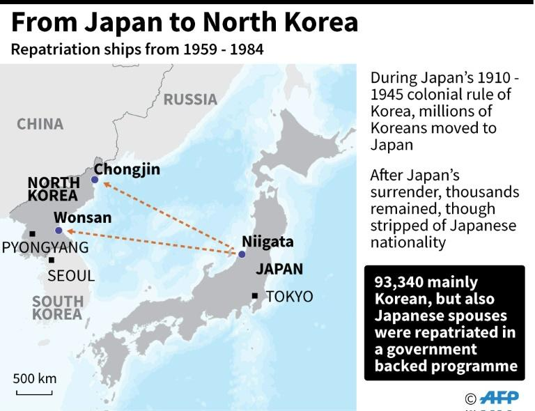 Map showing the route of the first repatriation ship carrying some 93,340 people from Niigata Port to North Korea in 1959, after the Korean War