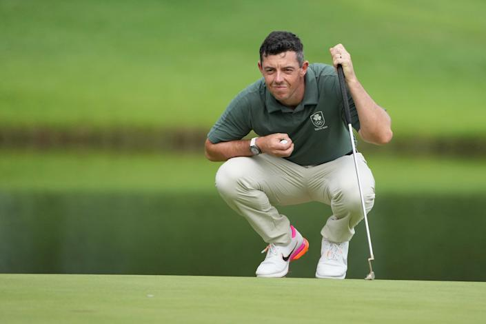 Rory McIlroy (Ireland) prepares to putt on the eighteenth hole during round two of the men's individual stroke play of the Tokyo 2020 Olympic Summer Games at Kasumigaseki Country Club.