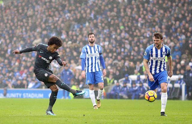 Willian scores his goal of the season contender for Chelsea against Brighton. (Getty)