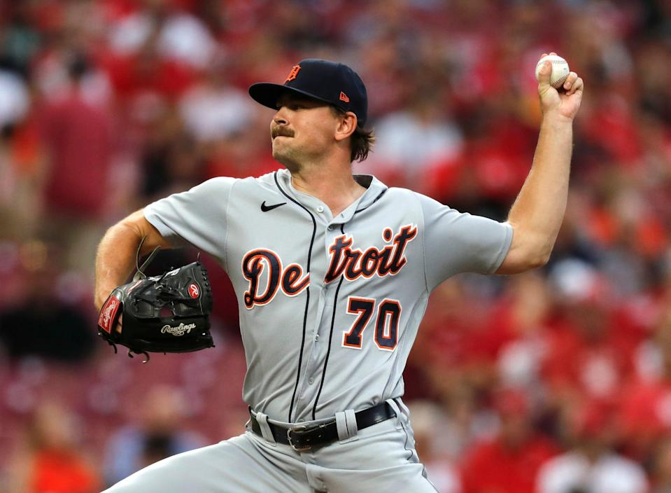 Detroit Tigers starting pitcher Tyler Alexander (70) throws against the Cincinnati Reds during the first inning at Great American Ball Park on Sept. 3, 2021.