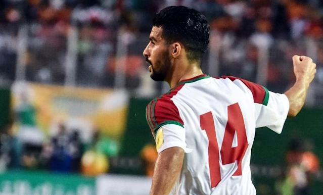 Morocco's Boussoufa Mbark celebrates a goal against Ivory Coast during their FIFA World Cup 2018 Africa Group C qualifying match, at the Felix Houphouet-Boigny stadium in Abidjan, on November 11, 2017