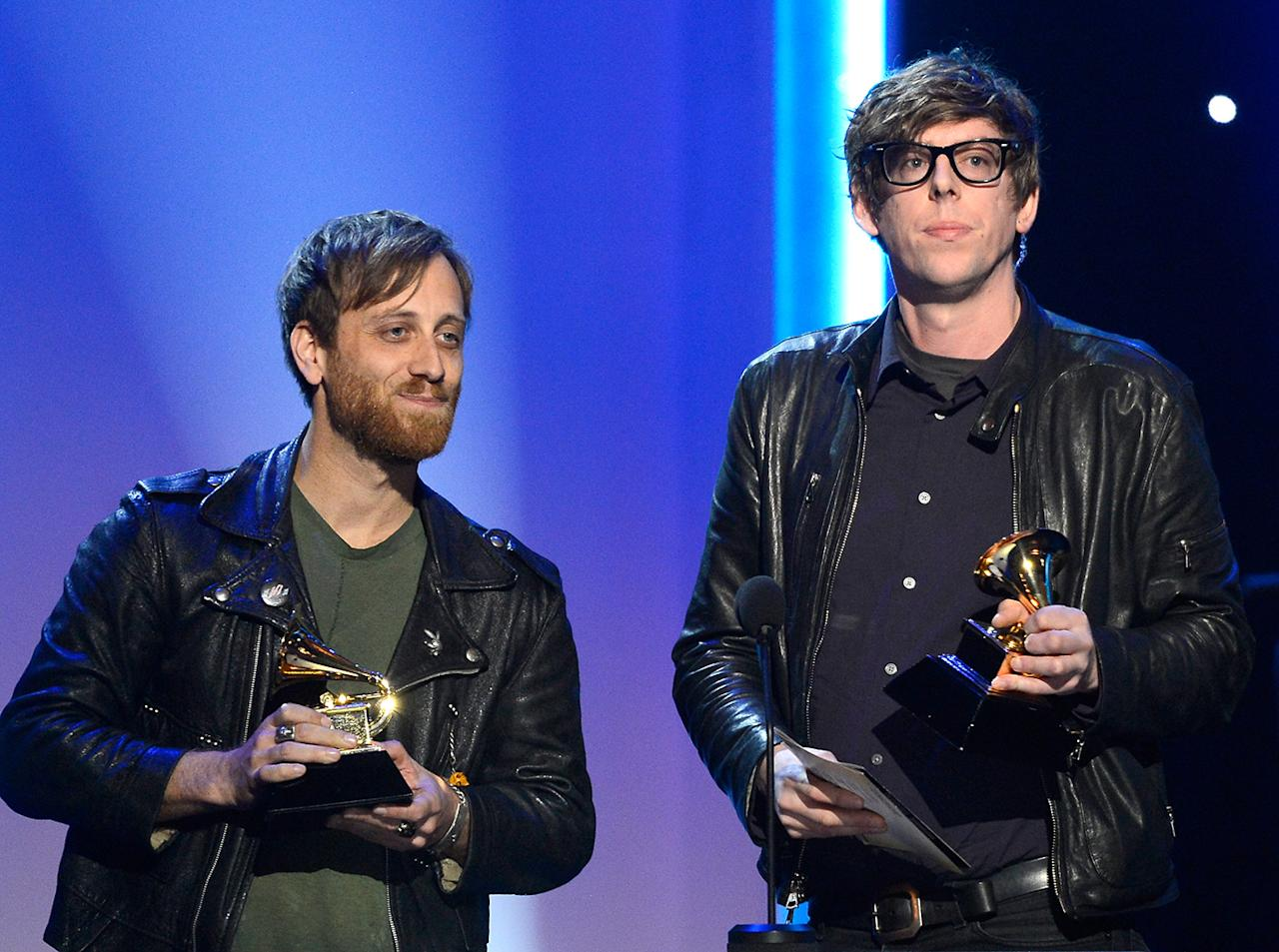 "Dan Auerbach (L) and Patrick Carney of The Black Keys accept the Best Rock Album Award for ""El Camino"" onstage at the The 55th Annual GRAMMY Awards at Nokia Theatre on February 10, 2013 in Los Angeles, California.  (Photo by Kevork Djansezian/Getty Images)"