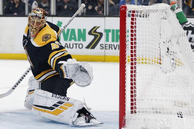 Boston Bruins' Tuukka Rask cannot stop a goal by Toronto Maple Leafs' Auston Matthews during the third period in Game 5 of an NHL hockey first-round playoff series in Boston, Friday, April 19, 2019. (AP Photo/Michael Dwyer)