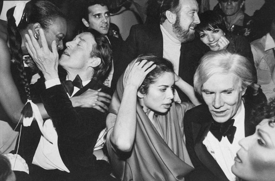 Halston, Bianca Jagger, Jack Haley Jr, Minnelli and Andy Warhol celebrate New Year's Eve at Studio 54, New York, 31 December 1978