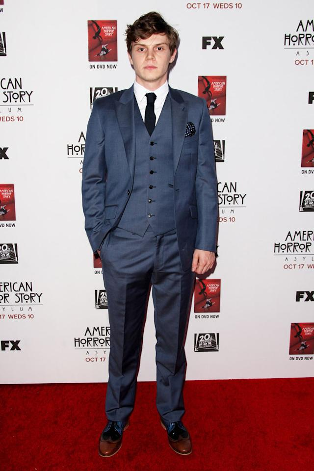 """Evan Peters attends the """"American Horror Story: Asylum"""" premiere held at Paramount Studios on October 13, 2012 in Hollywood, California."""