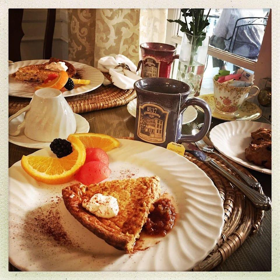 """<p><a href=""""https://www.tripadvisor.com/Hotel_Review-g54171-d111450-Reviews-1837_Bed_and_Breakfast-Charleston_South_Carolina.html"""" rel=""""nofollow noopener"""" target=""""_blank"""" data-ylk=""""slk:1837 Bed & Breakfast"""" class=""""link rapid-noclick-resp"""">1837 Bed & Breakfast</a> in Charleston</p><p>""""Breakfast time is always special to us. It's what a B & B is all about and the Inn did not fail on that count! Creative dishes were provided to us each morning, freshly baked including fruit cups, and a special bread or breakfast cake. Coffee, juice, tea, lemonade were always available. We remember the super chocolate squares put out one afternoon; they melted in your mouth!"""" - Yelp user <a href=""""https://www.yelp.com/user_details?userid=f2EEqM3b_nO9-FQnvFW8qQ"""" rel=""""nofollow noopener"""" target=""""_blank"""" data-ylk=""""slk:Ken D."""" class=""""link rapid-noclick-resp"""">Ken D.</a></p>"""