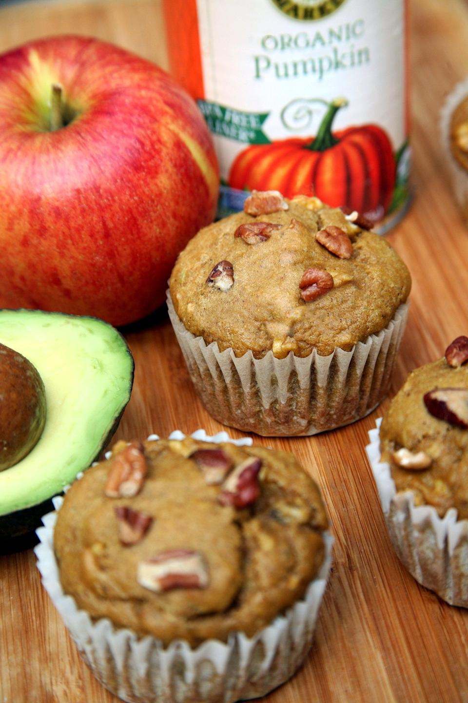 "<p>This pumpkin muffin recipe just may inspire you to never bake with butter again.</p> <p><strong>Calories:</strong> 144 per muffin<br> <strong>Protein:</strong> 3.3 grams</p> <p><strong>Get the recipe:</strong> <a href=""https://www.popsugar.com/fitness/Pumpkin-Muffins-Avocado-35763042"" class=""link rapid-noclick-resp"" rel=""nofollow noopener"" target=""_blank"" data-ylk=""slk:pumpkin avocado muffins"">pumpkin avocado muffins</a></p>"