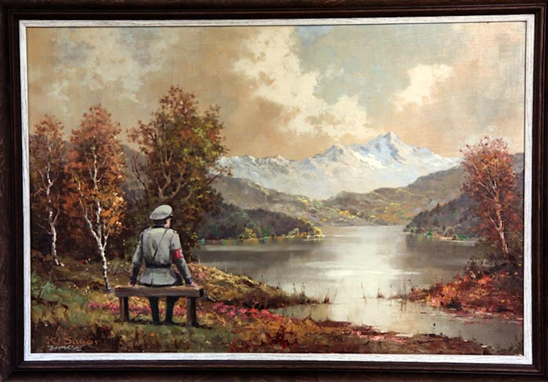 This undated photo provided by Housing Works shows a painting, which includes an addition to the scene by the secretive British graffiti artist Banksy. After buying a painting of a pastoral scene for $50, Banksy donated it back to the Housing Works thrift shop in New York where he bought it— but only after reworking it, adding a Nazi soldier to the scene. The 23rd Street Housing Works store is auctioning the painting. By Wednesday morning, Oct. 30, 2013, bidding reached $211,000. (AP Photo/Housing Works)