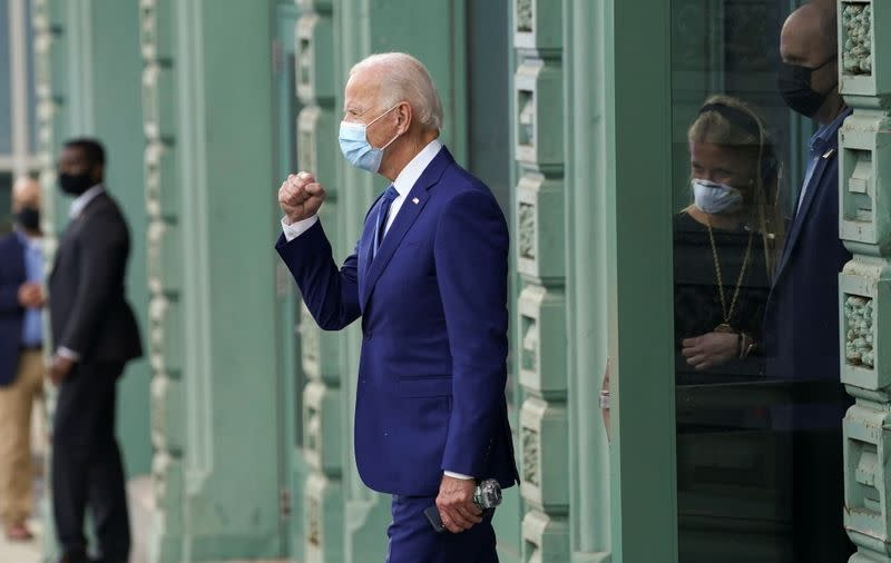 Joe Biden pumps his fist to supporters in Wilmington, Delaware