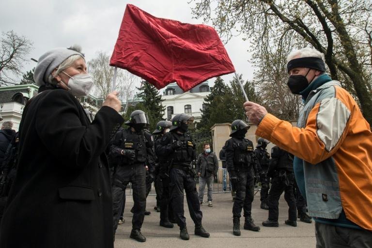 """Outside the Russian embassy in Peague protesters sported banners saying """"We're not Russia's backyard"""" and chanted """"Shame"""""""