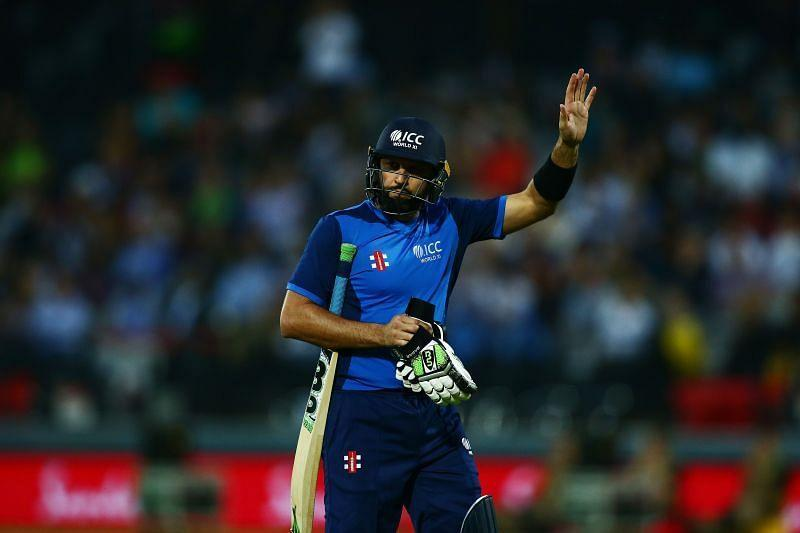 Shahid Afridi playing for the ICC World XI against the West Indies in May 2018