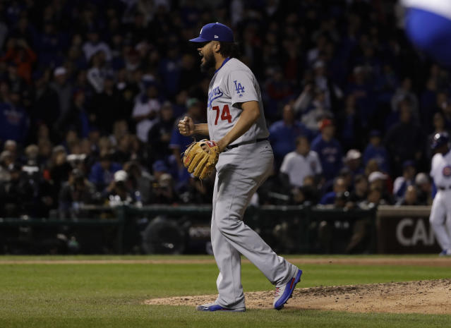 Kenley Jansen celebrates after Game 5 of the NLCS against the Chicago Cubs, Thursday, Oct. 19, 2017, in Chicago. (AP Photo/Matt Slocum)
