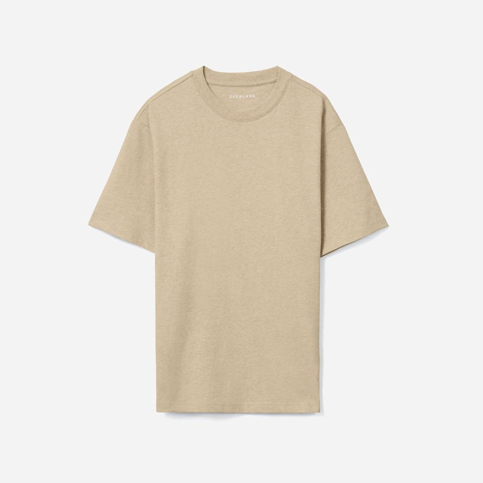 """<p><strong>Everlane</strong></p><p>everlane.com</p><p><strong>$40.00</strong></p><p><a href=""""https://go.redirectingat.com?id=74968X1596630&url=https%3A%2F%2Fwww.everlane.com%2Fproducts%2Fmens-prem-wt-rlxd-crew-hthr-cashew&sref=https%3A%2F%2Fwww.esquire.com%2Fstyle%2Fmens-fashion%2Fg37680729%2Fbest-t-shirts-with-color%2F"""" rel=""""nofollow noopener"""" target=""""_blank"""" data-ylk=""""slk:Shop Now"""" class=""""link rapid-noclick-resp"""">Shop Now</a></p><p>This tee comes from Everlane's Uniform line, and the cashew colorway and relaxed fit certainly live up to the name of the collection. </p>"""