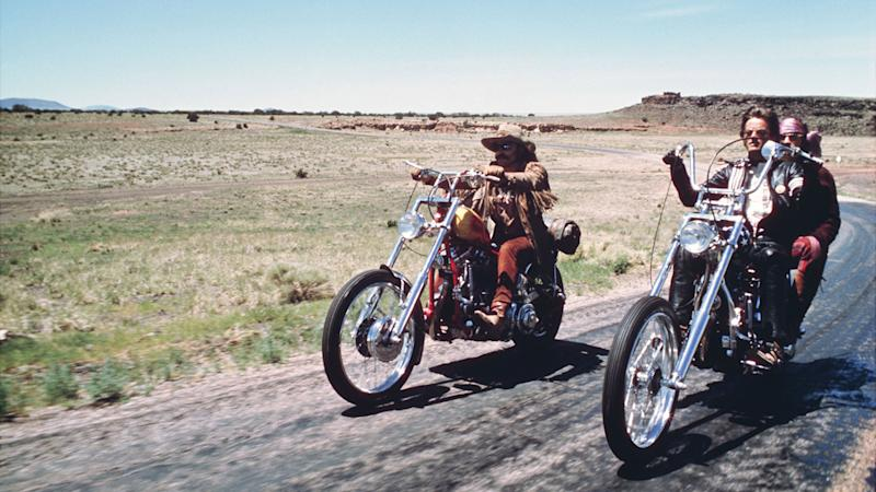 Editorial use only. No book cover usage. Mandatory Credit: Photo by Columbia/Kobal/Shutterstock (5885924ag) Dennis Hopper, Peter Fonda Easy Rider - 1969 Director: Dennis Hopper Columbia USA Scene Still Drama