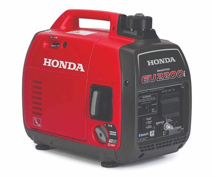 """<p><strong>Honda</strong></p><p>amazon.com</p><p><strong>$1099.00</strong></p><p><a href=""""https://www.amazon.com/dp/B08YJVDGS1?tag=syn-yahoo-20&ascsubtag=%5Bartid%7C10060.g.36984727%5Bsrc%7Cyahoo-us"""" rel=""""nofollow noopener"""" target=""""_blank"""" data-ylk=""""slk:Shop Now"""" class=""""link rapid-noclick-resp"""">Shop Now</a></p><p>Around half the size and weight of many generators, the EU2200I inverter generator is the most portable of the units we've tested. It generates AC current, converts it to DC, and then back to AC, a process that acts like a filter, flattens surges, and cleans up the electrical current, making it an ideal choice for powering sensitive electronics. Running under load, the EU2200I is the quietest of all the models we tested, with sound levels measuring 81.2 decibels.</p>"""