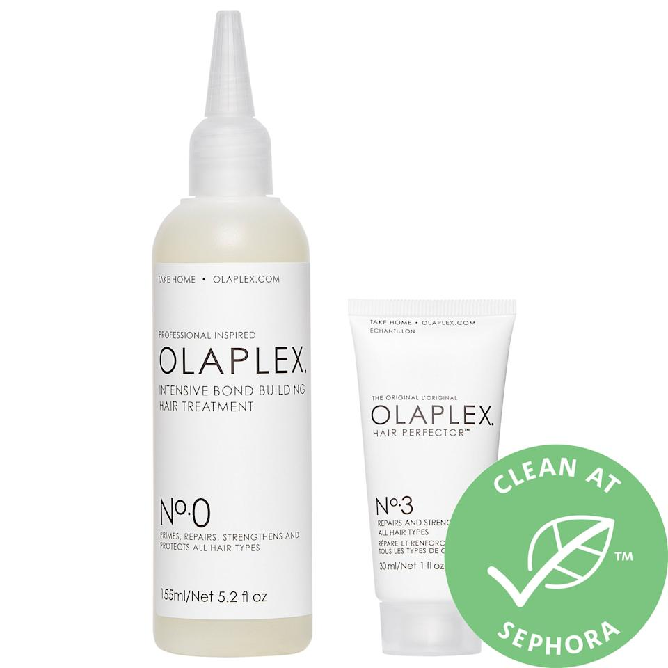"""<p>Give stressed hair some extra TLC with the <product href=""""https://www.sephora.com/product/olaplex-no-0-kit-P461483?icid2=bestsellershair_skugrid_ufe:p461483:product"""" target=""""_blank"""" class=""""ga-track"""" data-ga-category=""""Related"""" data-ga-label=""""https://www.sephora.com/product/olaplex-no-0-kit-P461483?icid2=bestsellershair_skugrid_ufe:p461483:product"""" data-ga-action=""""In-Line Links"""">Olaplex No. 0 Intensive Bond Building Hair Treatment Kit</product> ($28) - whether the damage came from chemicals, heat, or styling itself. This new kit packs the bestselling No. 3 hair perfector alongside No. 0, the strongest bond-building treatment available for at-home use.</p>"""