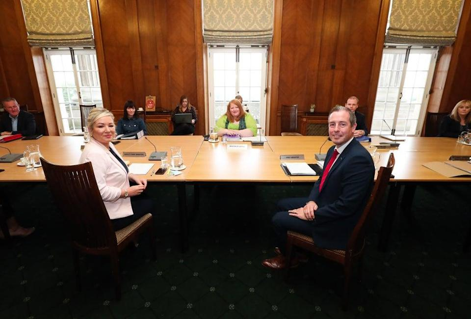 First Minister Paul Givan and deputy First Minister Michelle O'Neill join other ministers (PA) (PA Media)
