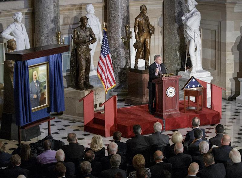 Senate Minority Whip Richard Durbin of Ill. speaks in Statuary Hall on Capitol Hill in Washington, Thursday, March 9, 2017, during a memorial service honoring former Illinois Rep. Bob Michel. Michel, who represented Illinois' 18th Congressional District and served as House minority leader from 1981 to 1995, died on February 17, 2017. (AP Photo/J. Scott Applewhite)