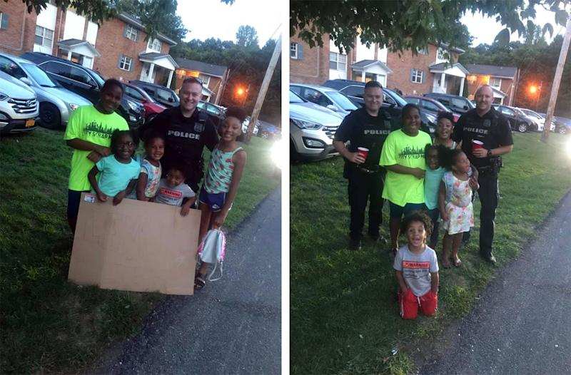 When some local residents called on the Newburgh Police Department to shut down a kids' lemonade stand, the officers on call bought a drink instead. (Credit: Whitney Glover/Facebook)