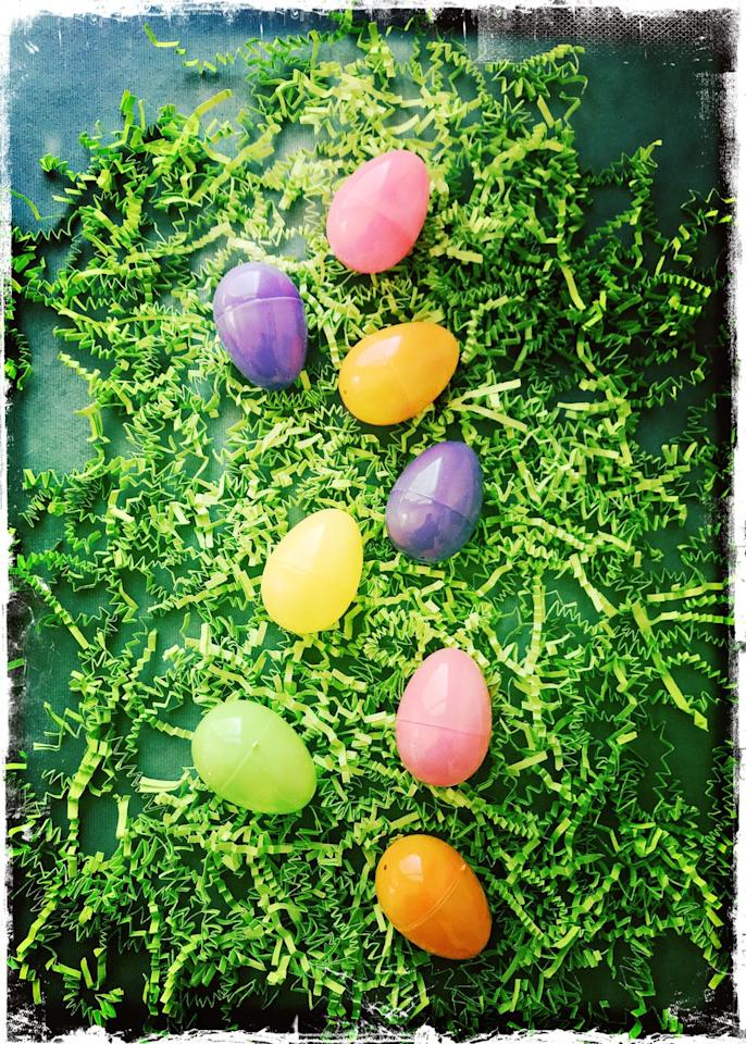 <p>Instead of filling eggs with candy, write out fun activities like a night out at the movies or a day an indoor play place on pieces of paper in stuff them in the eggs so that your kids can claim them at a later date.</p>