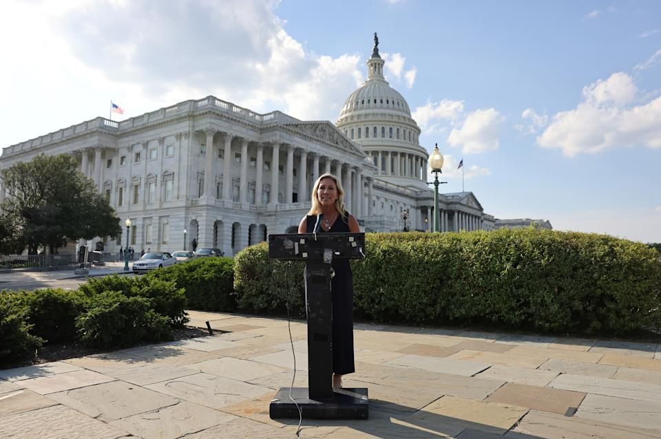 Representative Marjorie Taylor Greene (R-GA) holds a press conference outside the U.S. Capitol following a private visit to the Holocaust Museum, to express contrition for previous remarks about Jewish people, in Washington, U.S. June 14, 2021. (Evelyn Hockstein/Reuters)