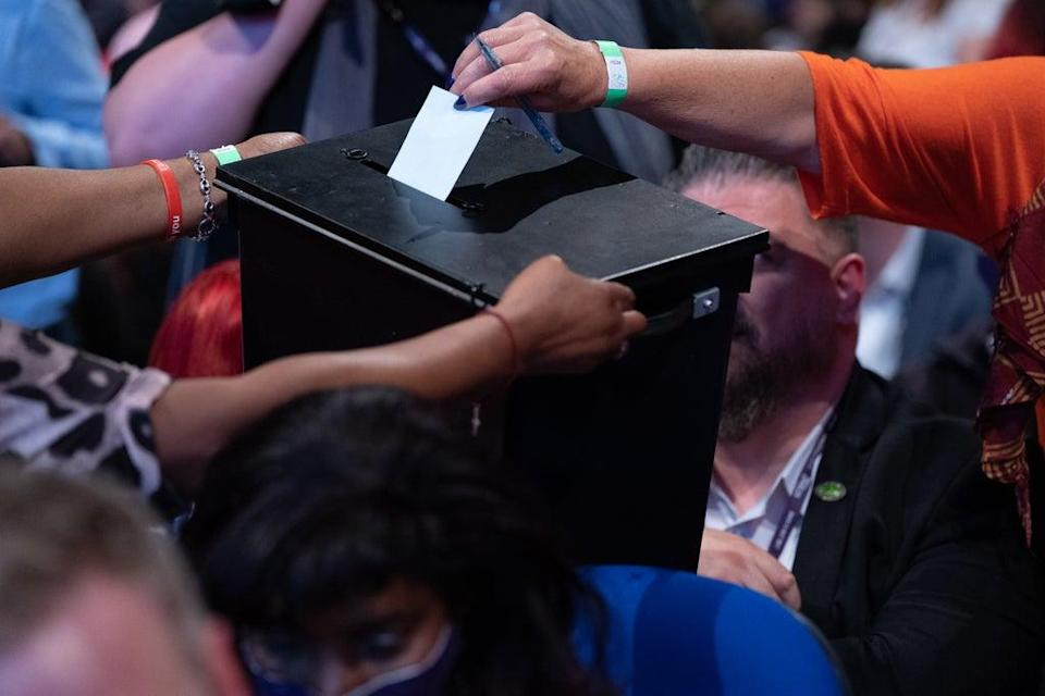 Ballot papers are collected at the Labour Party conference in Brighton (Stefan Rousseau/PA) (PA Wire)