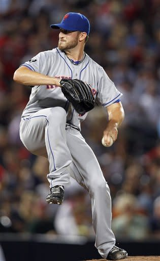 New York Mets starting pitcher Jonathon Niese (49) works in the second inning of a baseball game against Atlanta Braves in Atlanta, Friday, Sept. 28, 2012. (AP Photo/John Bazemore)