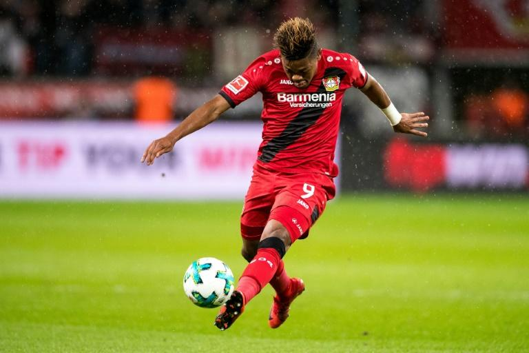 Leverkusen's Leon Bailey kicks the ball during the German first division Bundesliga football match between Bayer Leverkusen and SV Werder Bremen in Leverkusen, Germany on December 13, 2017