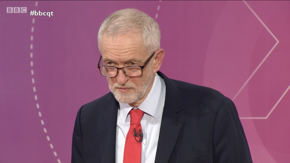 """Jeremy Corbyn revealed for the first time he would adopt a """"neutral stance"""" in a second Brexit referendum (BBC iPlayer)"""