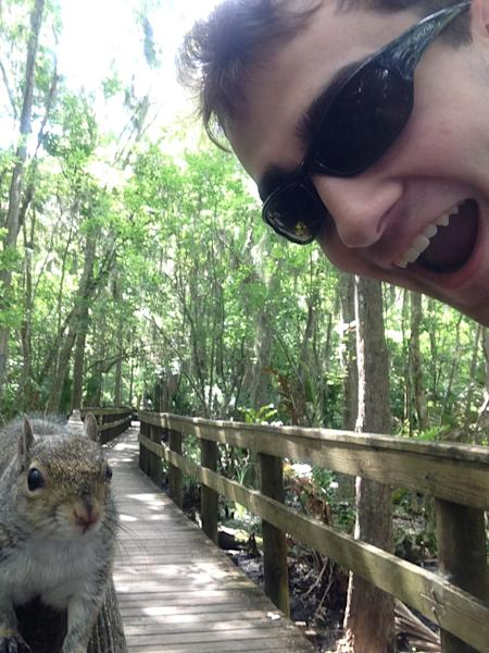 "In this photo made Saturday April, 26, 2014, and provided by Brian Genest, a squirrel approaches Brian Genest as he takes a photo of himself at John Chestnut Park near Tampa, Fla. Genest, 17, of Auburn, Maine, said Thursday, May 1, 2014, he saw what appeared to be a friendly squirrel on a hand rail while walking through a park. Genest took a selfie of himself and the squirrel. But the flash and noises from his camera phone scared the squirrel, which climbed under his shirt and hung onto his back before scampering back out. ""He was just in that spot where my arm can't reach him,"" Genest said. ""I threw myself on the ground, and that scared him off."" (AP Photo/Brian Genest)"
