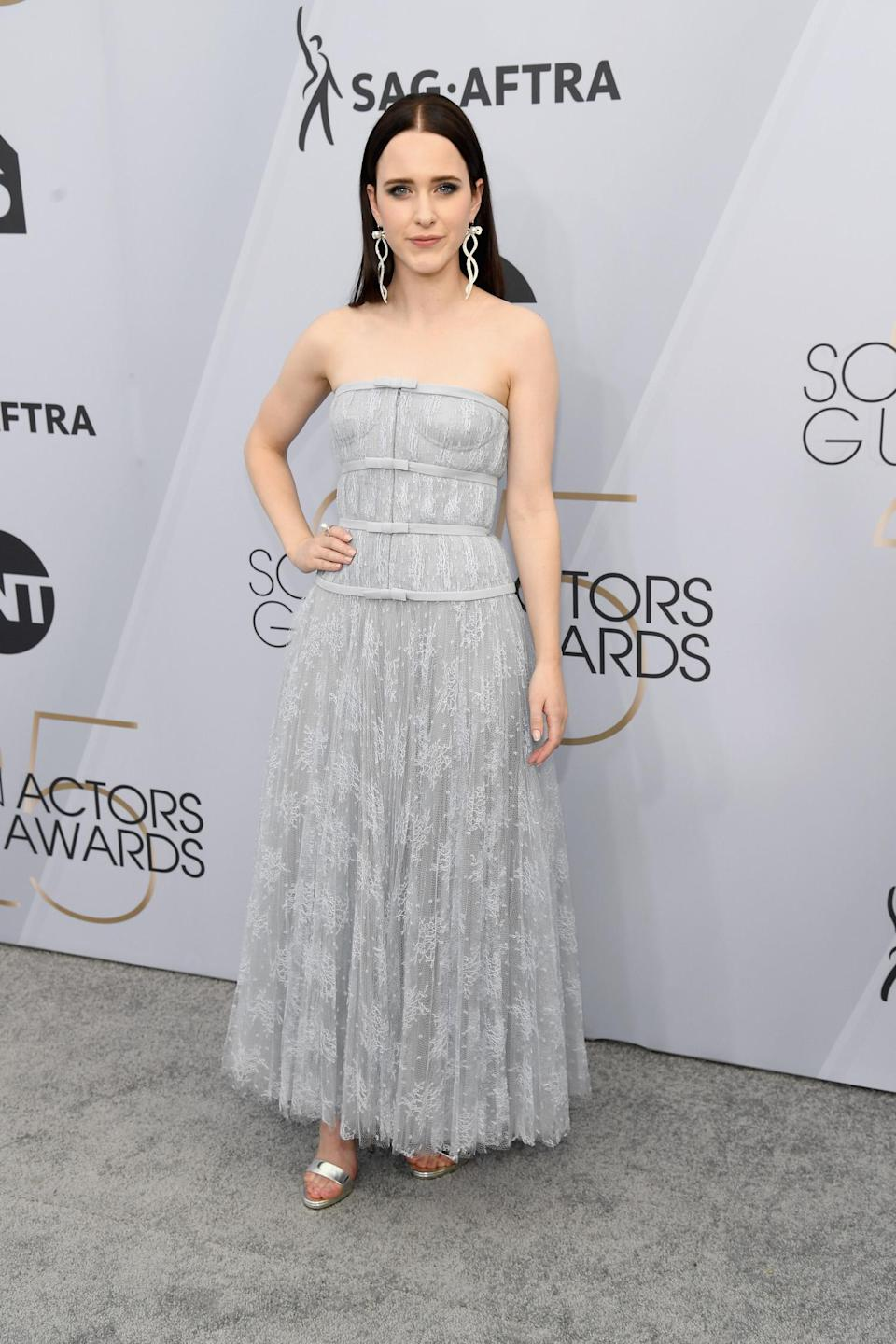 <p>Rachel Brosnahan, nominated (and winner!) for <em>The Marvelous Mrs. Maisel</em>, looked, well, marvelous. (Photo: Getty Images) </p>