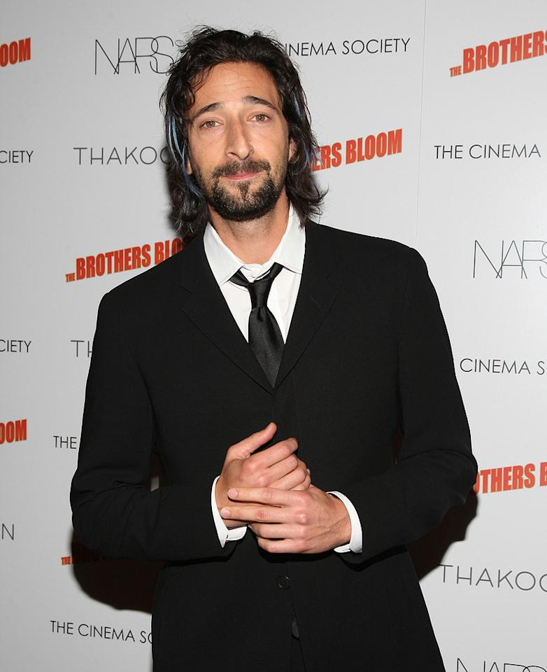 """<a href=""""http://movies.yahoo.com/movie/contributor/1800018941"""">Adrien Brody</a> at the New York screening of <a href=""""http://movies.yahoo.com/movie/1809843292/info"""">The Brothers Bloom</a> - 05/07/2009"""