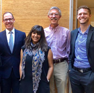 Dean and Professor of Law Anthony Niedwiecki, left, with new law professors Jyoti Nanda, Robert Mullaney, and Spencer Williams.