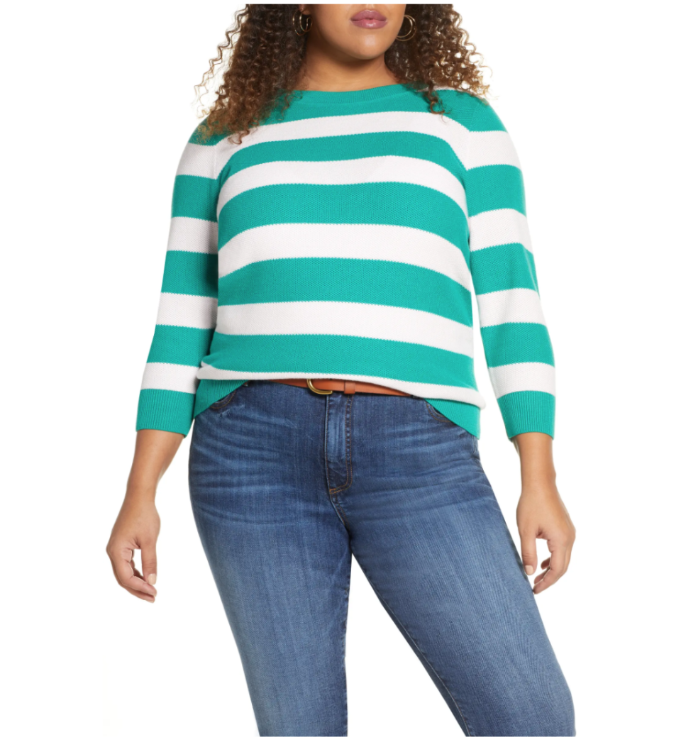 Halogen x Atlantic-Pacific Three Quarter Sleeve Sweater. Image via Nordstrom.
