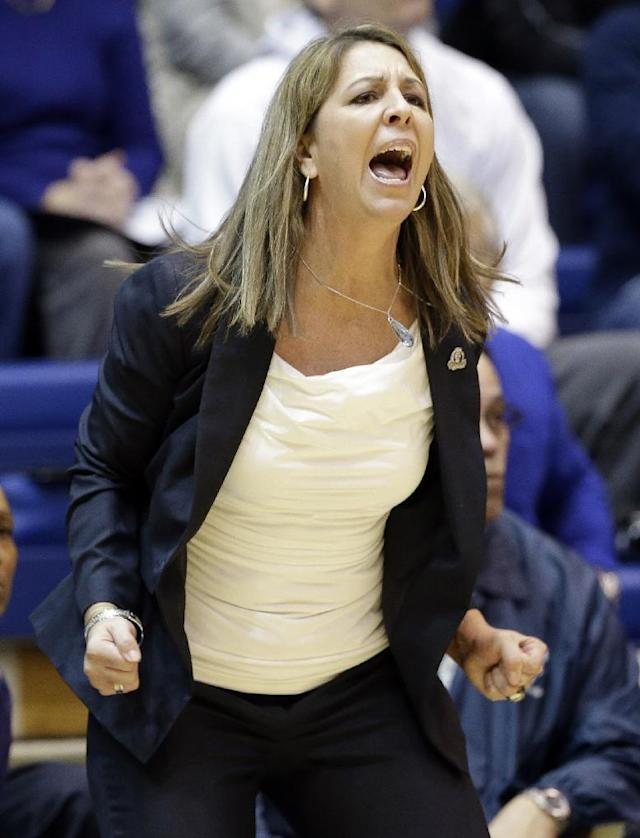 Old Dominion coach Karen Barefoot yells during the first half of an NCAA college basketball game against Duke in Durham, N.C., Thursday, Jan. 2, 2014. Duke won 87-63. (AP Photo/Gerry Broome)