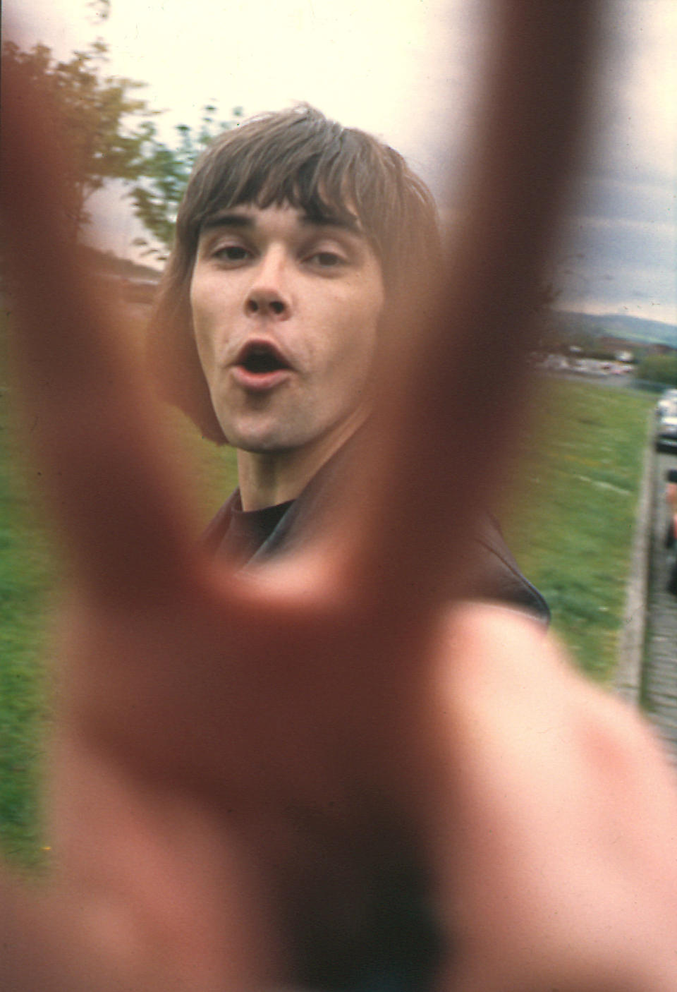 Ian Brown, from The Stone Roses in Rockfield, Salford Rehersal Studios for the Second Coming sessions.; 1993 'Gotcha' cover;  (Photo by Steve Brown/Photoshot/Getty Images)