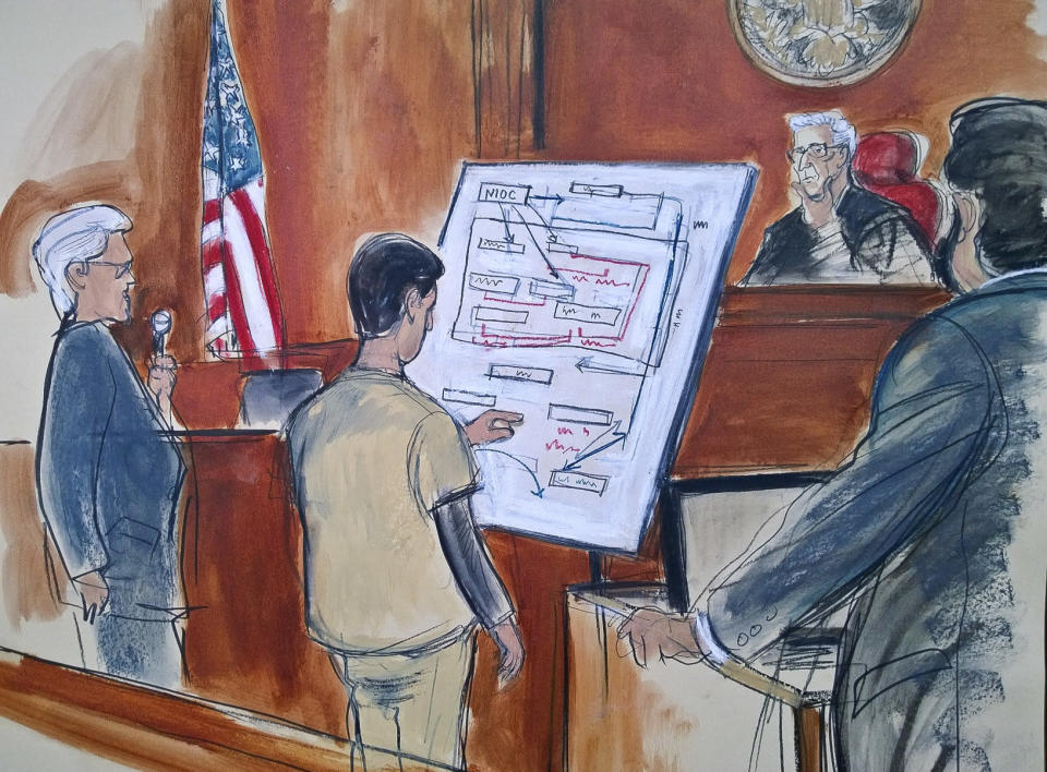 In this courtroom sketch, Judge Richard Berman, second from right, and prosecuting Assistant U.S. Attorney Sidhardha Kamaraju, far right, listen as Turkish-Iranian gold trader Reza Zarrab, second from left, explains a scheme using a diagram he drew, outlining how he helped Iran evade U.S. economic sanctions on Nov. 29, 2017, in New York. (Photo: Elizabeth Williams via AP)