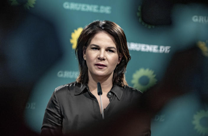 Annalena Baerbock Germany's Green party co-leader and top candidate for the upcoming national election in September speaks on a news conference after a party's leaders meeting in Berlin, Germany, May 31, 2021. (Michael Kappeler/dpa via AP)