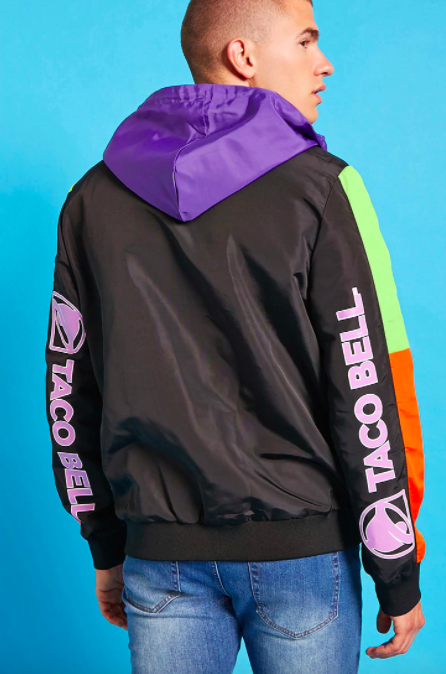 "Taco Bell anorak jacket, <a href=""https://www.forever21.com/us/shop/Catalog/Product/f21/promo-taco-bell-collection/2000216217"" target=""_blank"">$29.90 at Forever 21</a>"