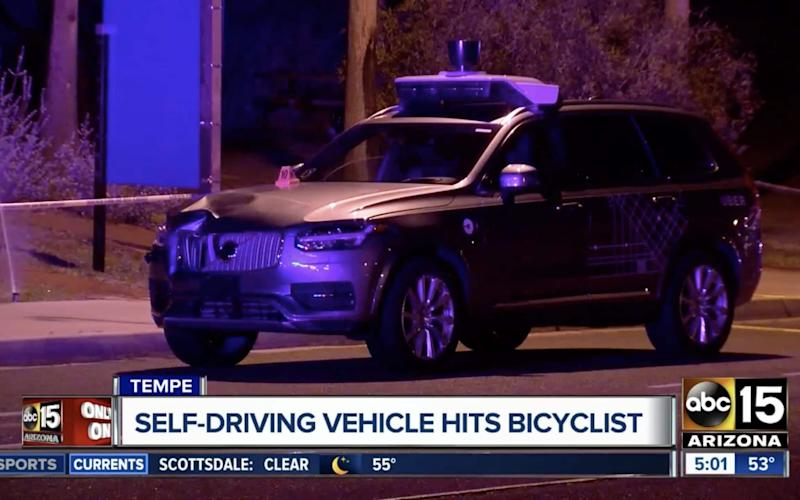 The Uber Volvo car right after the accident - ABC15 Arizona