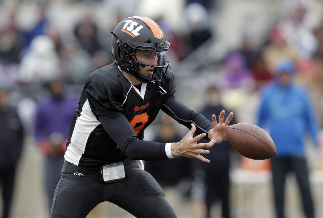 Former Heisman Trophy-winning quarterback Johnny Manziel (2) takes part in a developmental Spring League game, Saturday, April 7, 2018, in Austin, Texas. Manziel is hoping to impress NFL scouts in his bid to return to the league. (AP)