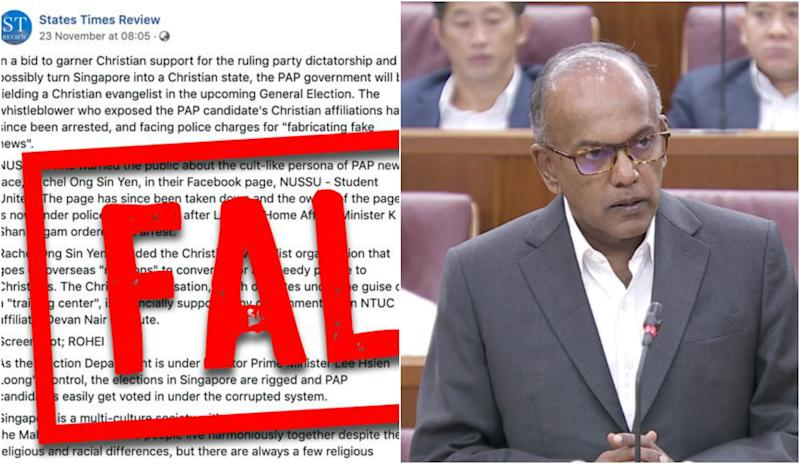 Screencap of States Times Review's Facebook post (left) and Home Affairs and Law Minister K Shanmugam. (PHOTOS: POFMA Office, Parliament screencap)